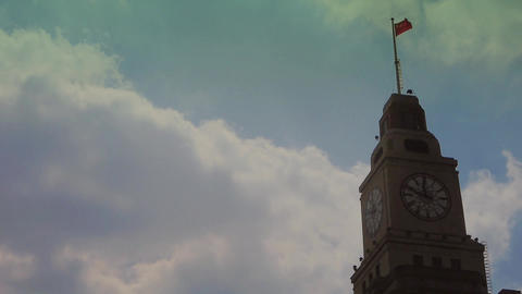 Shanghai bund,old business town building & red flag Animation