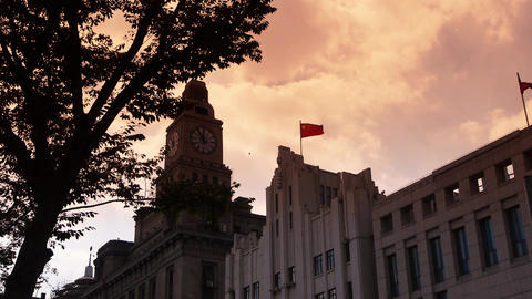 Shanghai bund sunset-glow,old business town building... Stock Video Footage