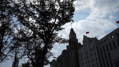 Shanghai bund,old business town building & tree Stock Video Footage