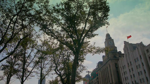 Shanghai bund,old business town building & tree Stock Video Footage