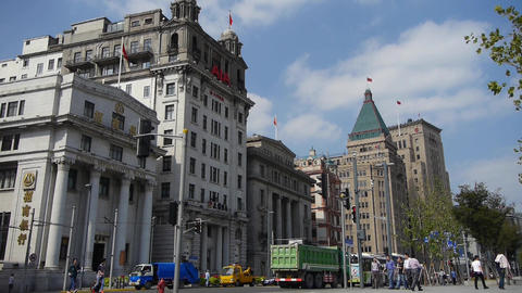 Shanghai bund traffic timelapse,old business building Stock Video Footage