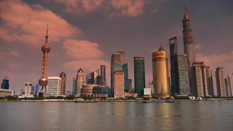 Shanghai timelapse,Lujiazui Economic Center sunset,busy... Stock Video Footage