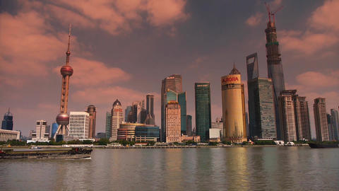 Shanghai timelapse,Lujiazui Economic Center sunset,busy shipping Animation