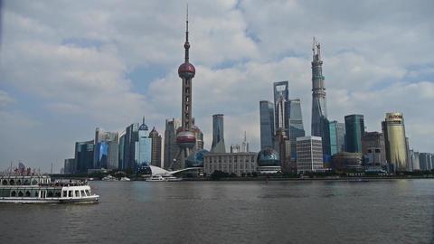 panoramic of Shanghai Lujiazui business Center,urban... Stock Video Footage