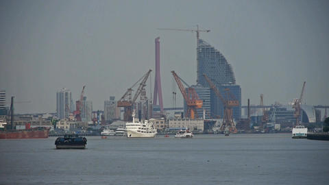 Ships Pass By Shanghai Huangpu River Pier,tower Cr stock footage