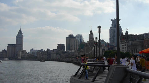Shanghai Bund,huangpu river waterfront & Tourists... Stock Video Footage