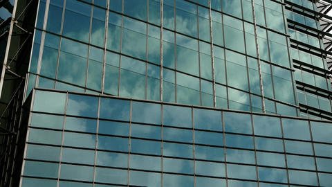 closeup skyscraper glass windows,urban morden business buildings district Animation