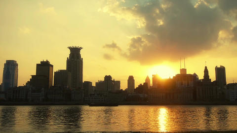 timelapse,Shanghai bund sunset from pudong zone,ship sail... Stock Video Footage
