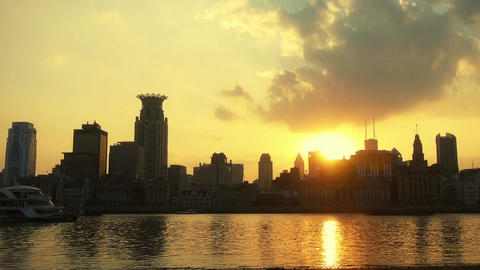 timelapse,Shanghai bund sunset from pudong zone,ship sail huangpu river Animation