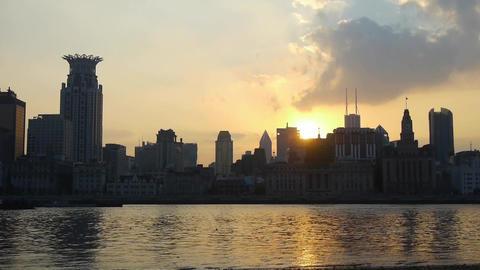 panoramic of Shanghai bund sunset & huangpu... Stock Video Footage