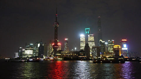 time lapse Shanghai night,Lujiazui financial hub,busy Huangpu River shipping Animation