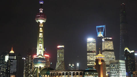 Shanghai night,pearl-town & Lujiazui financial building Animation