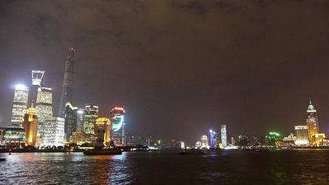 Shanghai bund at night,Lujiazui economic center,busy Huangpu River shipping Animation