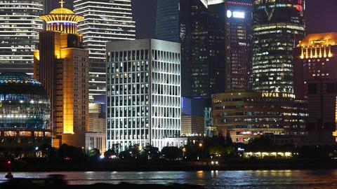 Shanghai bund at night,Lujiazui economic center,busy Huangpu River shipping Animation