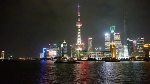 Shanghai at night,Lujiazui economic center Stock Video Footage