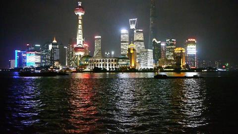 Shanghai bund at night,Lujiazui economic center,busy... Stock Video Footage