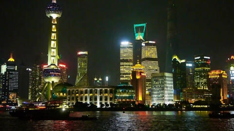 Shanghai bund at night,pudong Lujiazui economic center Stock Video Footage