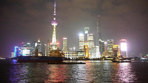 time lapse large ship passing Shanghai at night,Pudong... Stock Video Footage