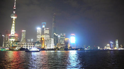 time lapse Shanghai at night,Pudong Lujiazui economic... Stock Video Footage
