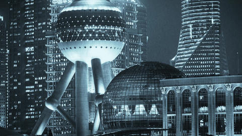 Shanghai night,closeup of pearl-town & Lujiazui financial building Animation