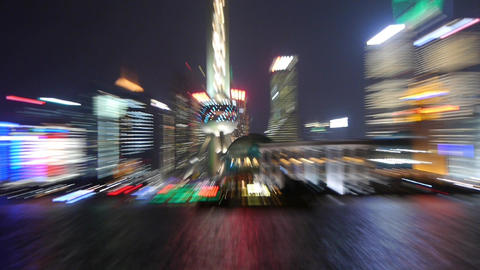 Shanghai from close to far at night,Pudong economic... Stock Video Footage