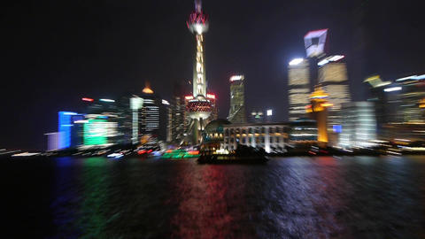 Shanghai from close to far at night,Pudong economic center,view across Huangpu R Animation