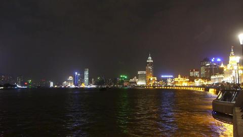 night of Shanghai Bund,huangpu river waterfront &... Stock Video Footage