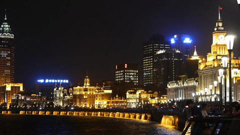 night of Shanghai Bund,huangpu river waterfront &... Stock Video Footage