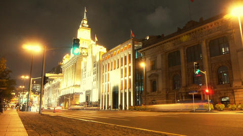 Shanghai bund traffic at night,old-fashioned business... Stock Video Footage