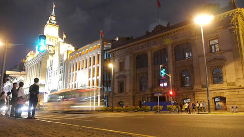 timelapse,Shanghai bund traffic at night,old-fashioned... Stock Video Footage