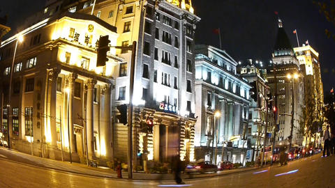 Fisheye urban traffic & blur people at night Stock Video Footage
