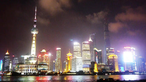 Shanghai bund at night,Lujiazui business center,Brightly... Stock Video Footage