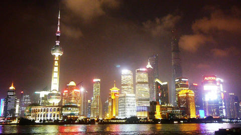Shanghai bund at night,Lujiazui business center,Brightly lit ship Animation
