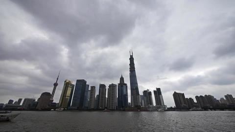 Shanghai bund,Lujiazui Financial Center,busy Huangpu... Stock Video Footage