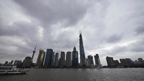 Shanghai bund,Lujiazui Financial Center,busy Huangpu River shipping Animation