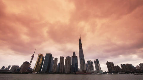 Shanghai bund sunset glow,Lujiazui Financial Center,busy... Stock Video Footage