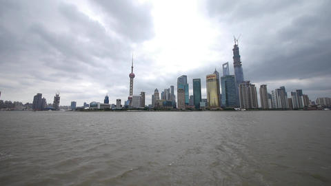 Shanghai pudong,Lujiazui economic building,huangpu river Stock Video Footage