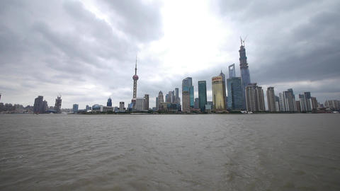 Shanghai pudong,Lujiazui economic building,huangpu river Animation