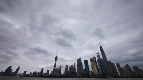 Shanghai pudong,Lujiazui economic building,huangpu river Stock Video Footage