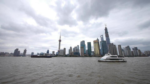 Shanghai bund,pudong Lujiazui business building,huangpu river Animation