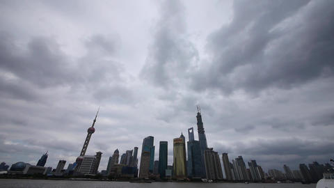 panoramic of Shanghai bund,pudong Lujiazui business building,huangpu river Animation