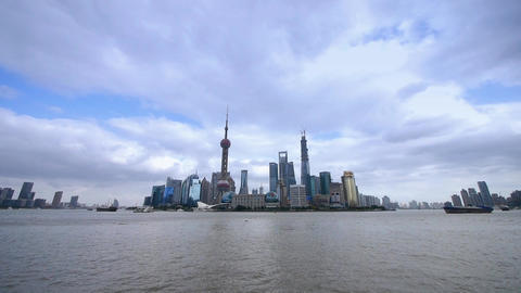 panoramic of Shanghai skyline,pudong Lujiazui business... Stock Video Footage