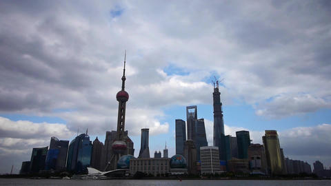 Shanghai skyline time lapse,pudong Lujiazui business... Stock Video Footage