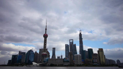 Shanghai skyline time lapse,pudong Lujiazui business center & pearl-tower Animation