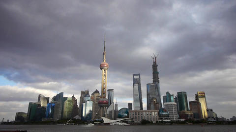 Shanghai skyline timelapse,pudong Lujiazui business... Stock Video Footage