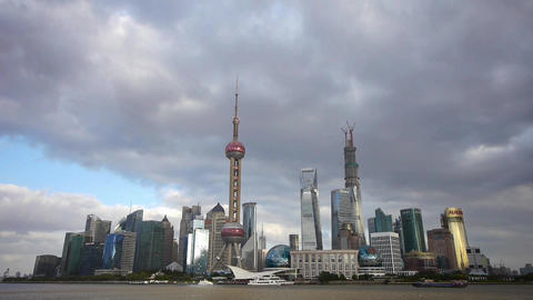 Shanghai skyline timelapse,pudong Lujiazui business center & pearl-tower Animation