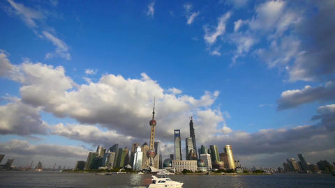 Shanghai skyline,world financial Centre & urban building Animation