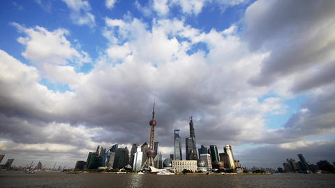 Shanghai skyline,world economic Centre & urban building Stock Video Footage