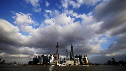 Shanghai skyline,world economic Centre & urban building Animation