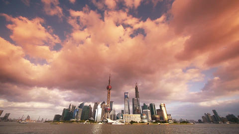 time lapse Shanghai skyline sunset & flying... Stock Video Footage
